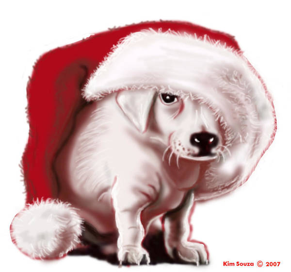 Christmas Art Print featuring the painting Christmas Pup by Kim Souza