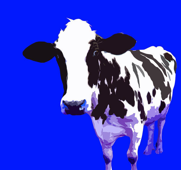 Cow Art Print featuring the digital art Cow In A Blue World by Peter Oconor