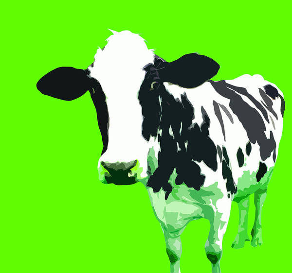 Cow Art Print featuring the digital art Cow In A Green World by Peter Oconor