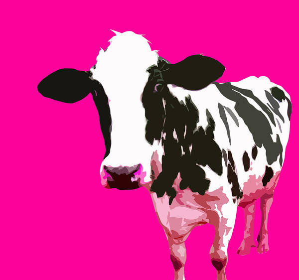 Cow Art Print featuring the digital art Cow In A Pink World by Peter Oconor