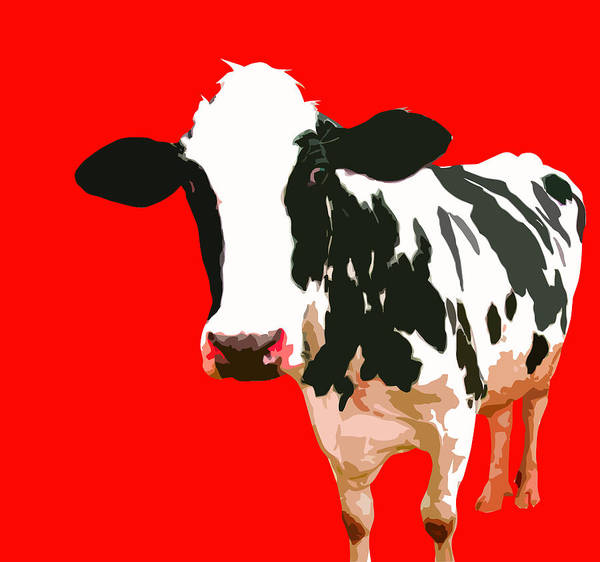 Cow Art Print featuring the painting Cow In Red World by Peter Oconor