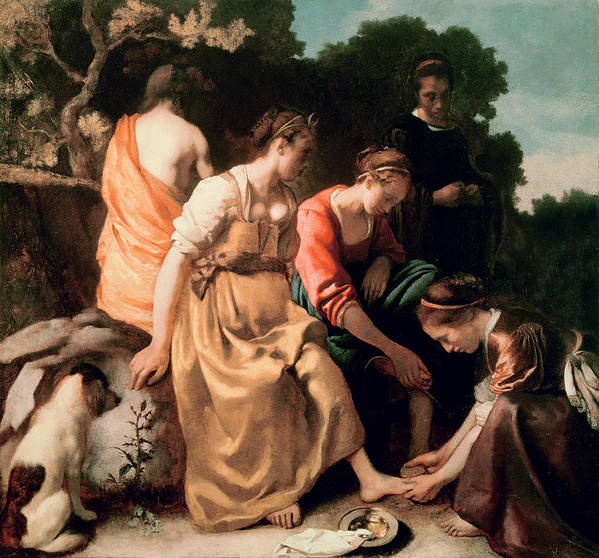 Diana And Her Companions Art Print featuring the painting Diana And Her Companions by Jan Vermeer