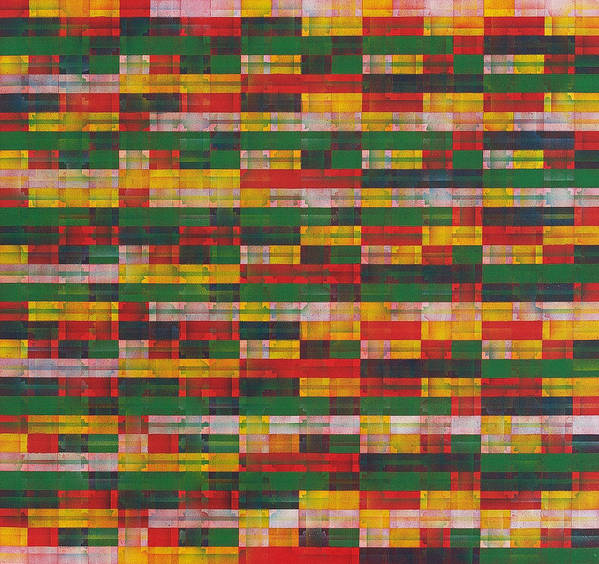 Abstract Pattern Green Red Yellow White Art Print featuring the painting Fac5-horizontal by Joan De Bot