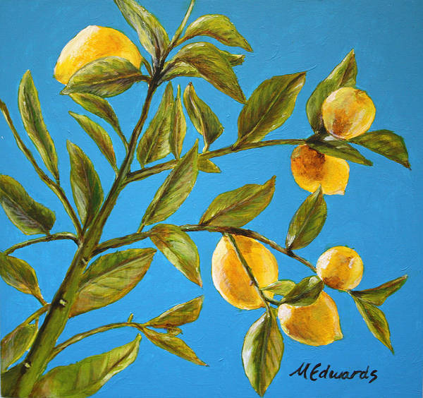 Lemons Art Print featuring the painting Lemon Tree by Marna Edwards Flavell