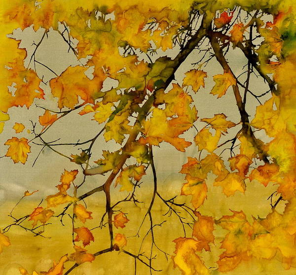 Maples Print featuring the tapestry - textile Maples In Autumn by Carolyn Doe