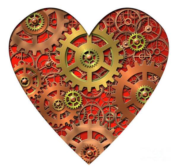 Heart Print featuring the digital art Mechanical Heart by Michal Boubin