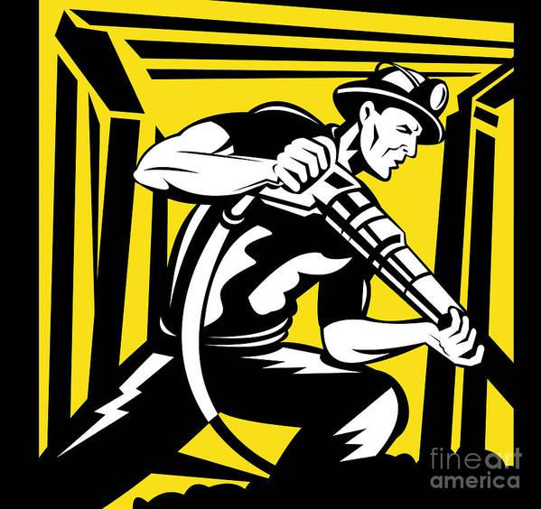 Illustration Art Print featuring the digital art Miner With Pneumatic Drill by Aloysius Patrimonio
