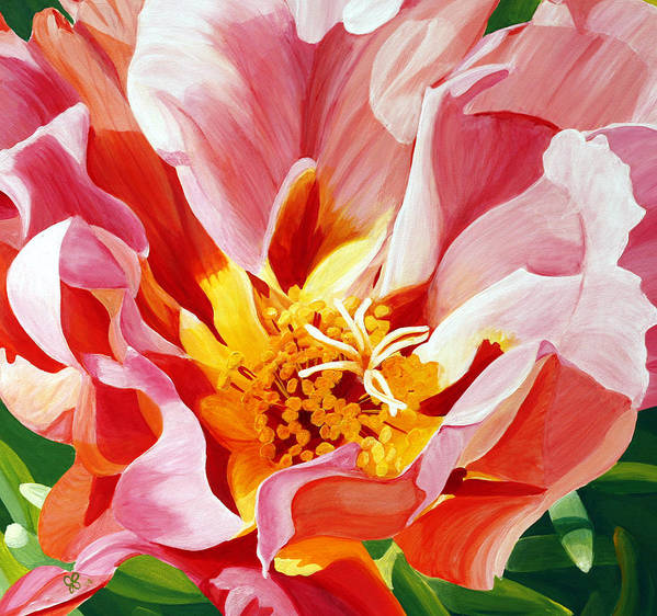 Macro Flower Art Print featuring the painting Moss Rose by Julie Pflanzer