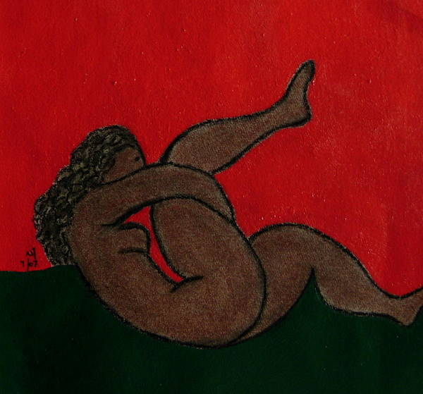 Female Nude Art Print featuring the drawing No.327 by Vijayan Kannampilly