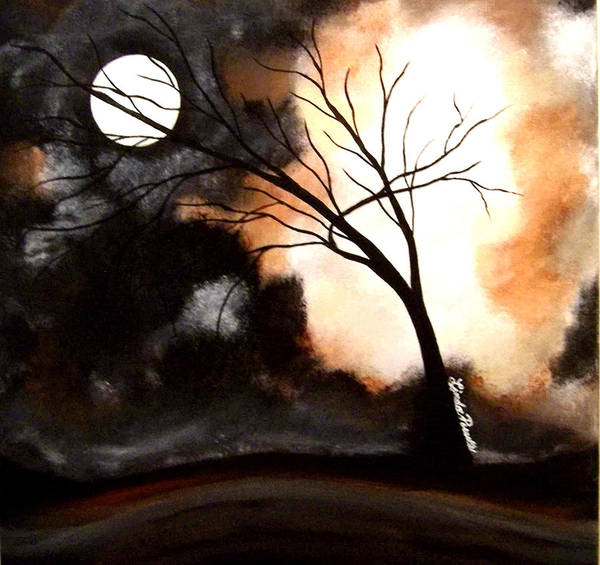 Abstract Art Print featuring the painting October Night 4 by Linda Powell