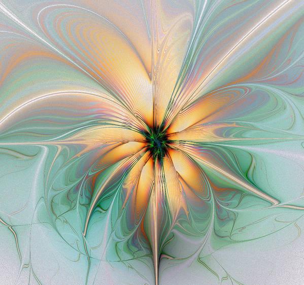 Digital Art Art Print featuring the digital art Peach Allure by Amanda Moore