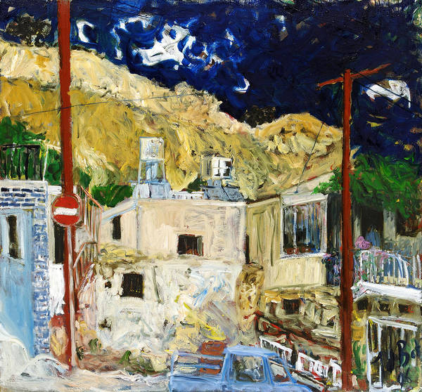Village Houses Traffic Sign Telephone Cables Van Mountain Dark Sky Art Print featuring the painting Pissouri Village by Joan De Bot