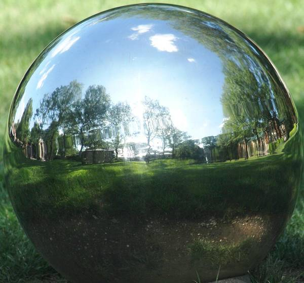 Abstract Art Print featuring the photograph Reflections On A Steel Sphere by Freda Sbordoni