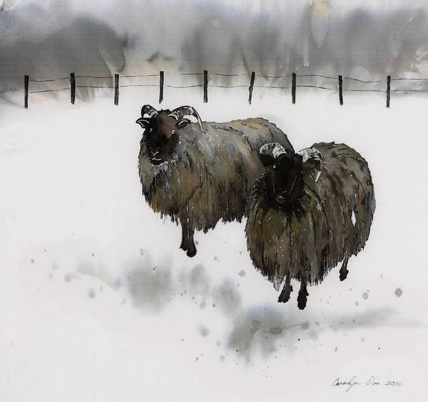 Sheep Art Print featuring the tapestry - textile Ricks Farm by Carolyn Doe