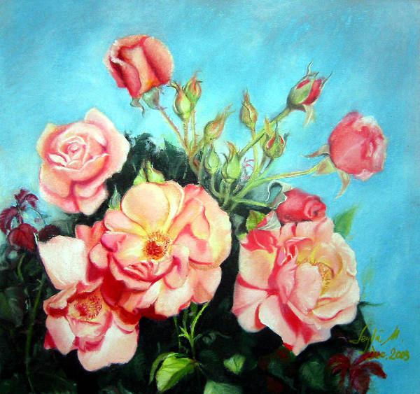 Flowers Art Print featuring the painting Roses by Leyla Munteanu