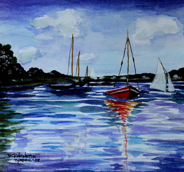Sailing Art Print featuring the painting Sailing Day by Elizabeth Robinette Tyndall