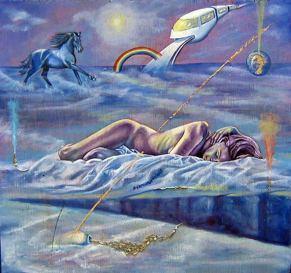 Female Nude Art Print featuring the painting Sleep Crack by Maritza Sanipatin