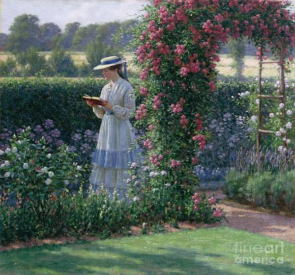 Garden; Reading; Book; Woman; Lawn; Flower;rose; Bed; Hedge; Climbing; Arch; Path Art Print featuring the painting Sweet Solitude by Edmund Blair Leighton