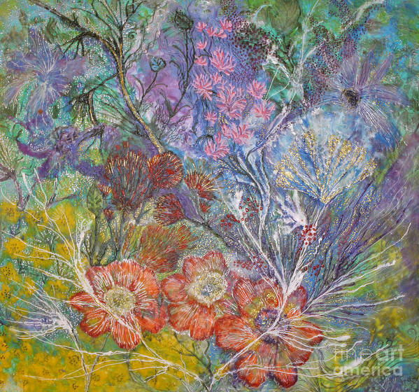 Flowers Art Print featuring the painting The Chakrah Garden by Heather Hennick