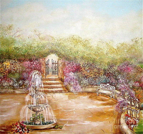 Fountain Art Print featuring the painting The Fountain by Elizabeth Gomez