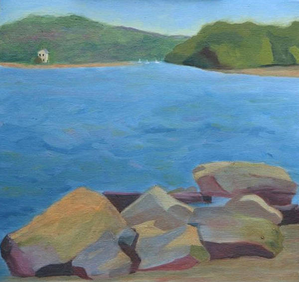 Water Art Print featuring the painting View Of Hamburg Cove by Paula Emery
