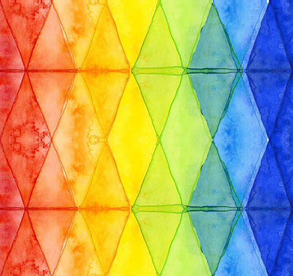 Watercolor Rainbow Pattern Geometric Shapes Triangles Art Print By Interesting Rainbow Pattern