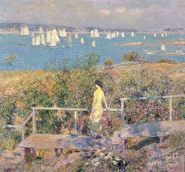 Yachts Print featuring the painting Yachts In Gloucester Harbor by Childe Hassam