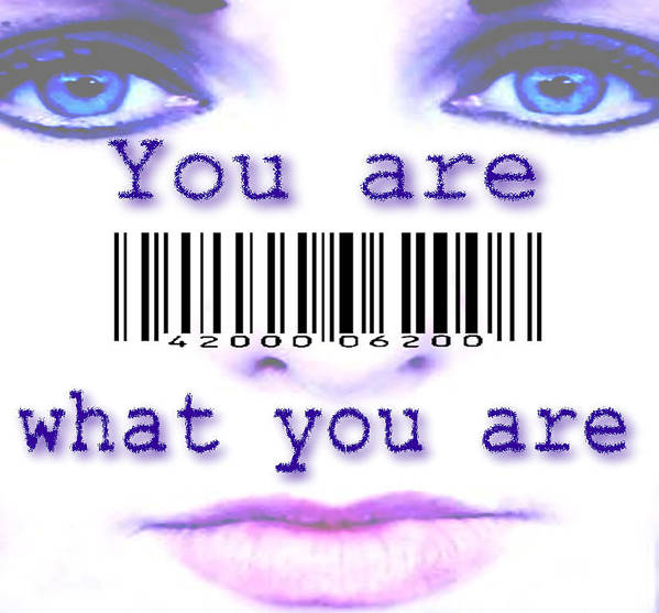 Eyes Identity Barcode Lips Face You Wyburn Uk Identification White Staring Purple Art Print featuring the digital art You Are What You Are by Steve Wyburn