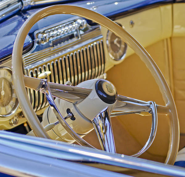 1947 Cadillac 62 Convertible Coupe Art Print featuring the photograph 1947 Cadillac 62 Steering Wheel by Jill Reger