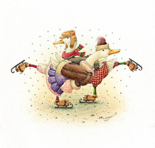 Christmas Greeting Cards Winter Ducks White Holiday Ice Art Print featuring the painting Ducks Christmas by Kestutis Kasparavicius