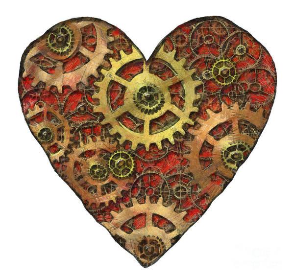 Heart Art Print featuring the mixed media Mechanical Heart by Michal Boubin