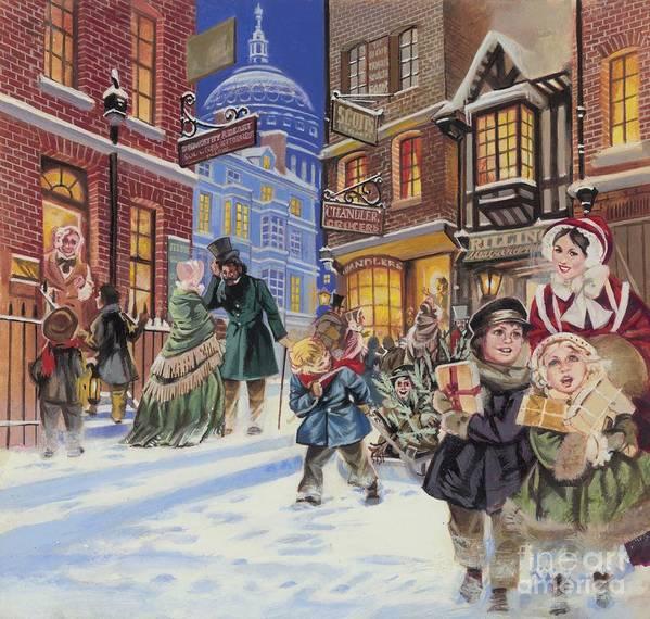 Dickensian Christmas Scene Art Print featuring the painting Dickensian Christmas Scene by Angus McBride