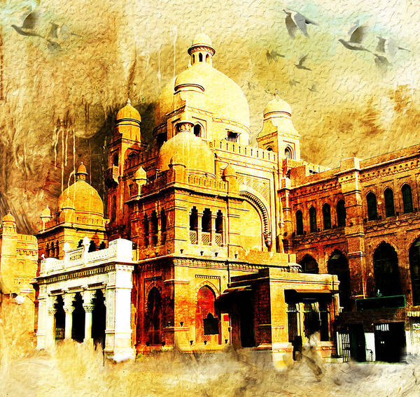 Pakistan Art Print featuring the painting Lahore Museum by Catf