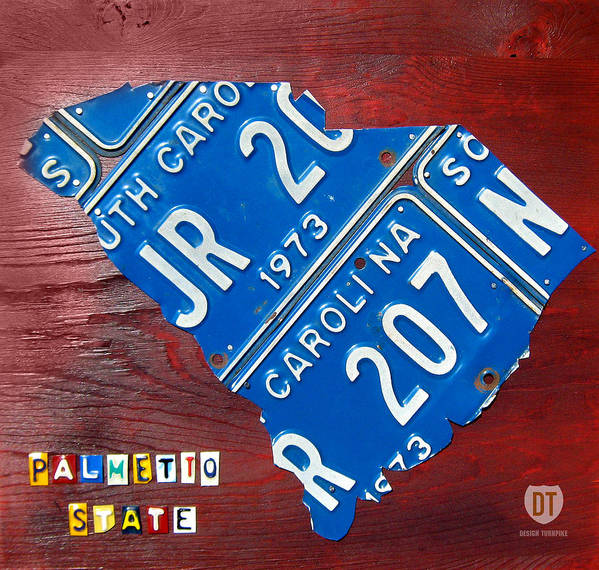 License Plate Map Art Print featuring the mixed media License Plate Map Of South Carolina By Design Turnpike by Design Turnpike