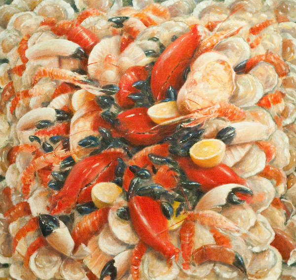 Fish; Lemon; Claws; Crab; Scallops; Shellfish; Prawn; Lobster; Crayfish; Abundance; Food; Atmospheric; Photorealist; Still Life Print featuring the painting Seafood Extravaganza by Lincoln Seligman