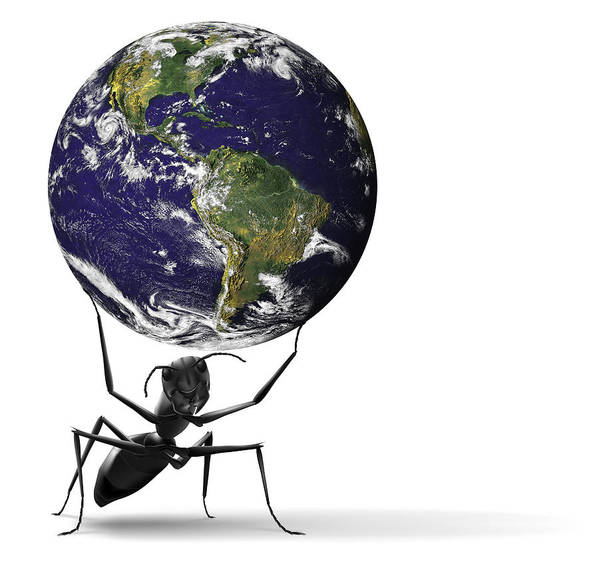 America Print featuring the digital art Small Ant Lifting Heavy Blue Earth by Dirk Ercken