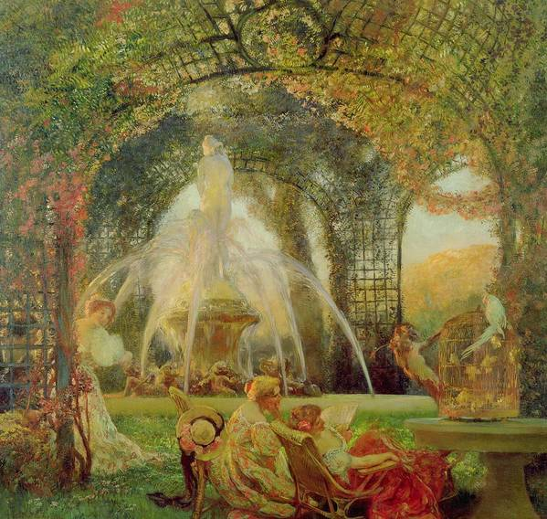 The Arbour Art Print featuring the painting The Arbor by Gaston De la Touche