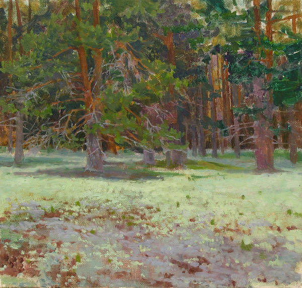 Forest Print featuring the painting The Glade Covered With A Moss by Victoria Kharchenko