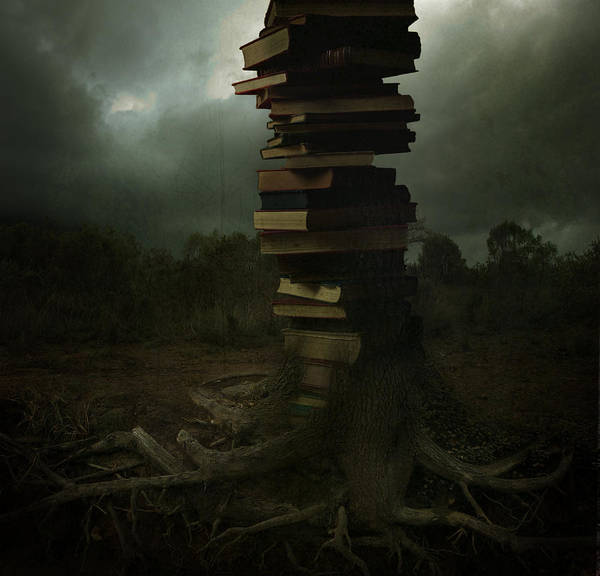 Books Art Print featuring the pyrography Tree Of Knowledge by Fern Evans