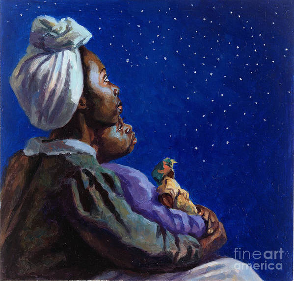 Motherhood Art Print featuring the painting Under The Midnight Blues by Colin Bootman