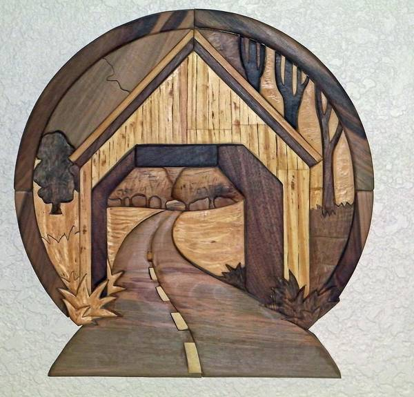 Intarsia Art Print featuring the sculpture Covered Bridge by Bill Fugerer