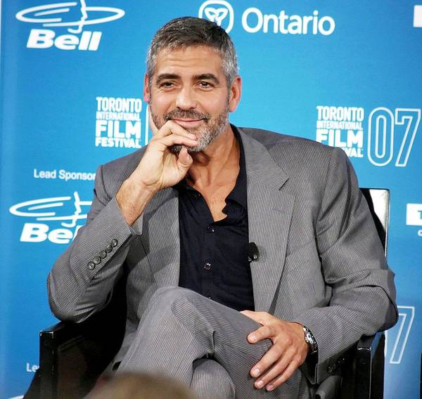 Michael Clayton Press Conference At The 32nd Annual Toronto International Film Festival Print featuring the photograph George Clooney At The Press Conference by Everett