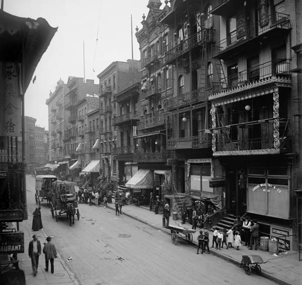 History Art Print featuring the photograph Mott Street In New York Citys Chinatown by Everett