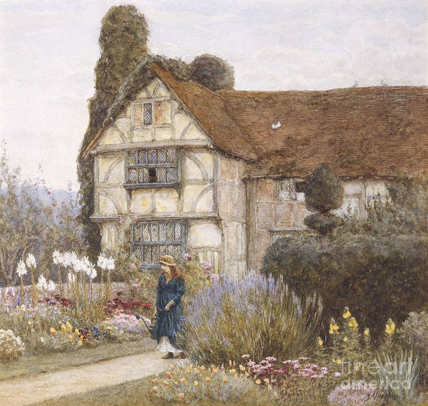 English; Landscape; C19th; C20th; Victorian; Exterior; Garden; Gardens; Border; Female; Flowers; Summer Art Print featuring the painting Old Manor House by Helen Allingham