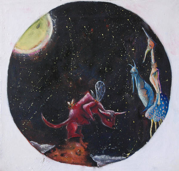 Space Art Print featuring the painting Untitled by Abigail Lee Goldberger