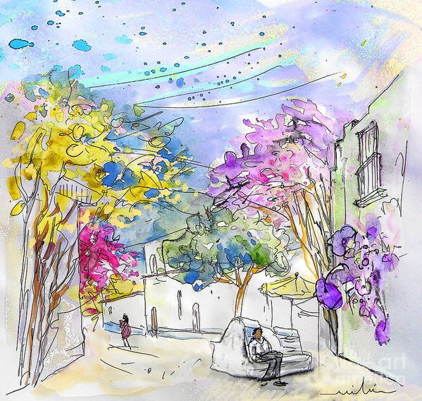 Agua Amarga Art Print featuring the painting Agua Amarga 12 by Miki De Goodaboom