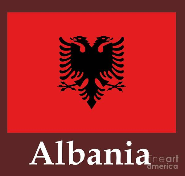 Albania Flag And Name Art Print By Frederick Holiday - Albania flag