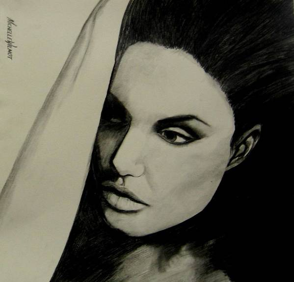 Black And White Art Print featuring the drawing Angelina by Michelle Dallocchio