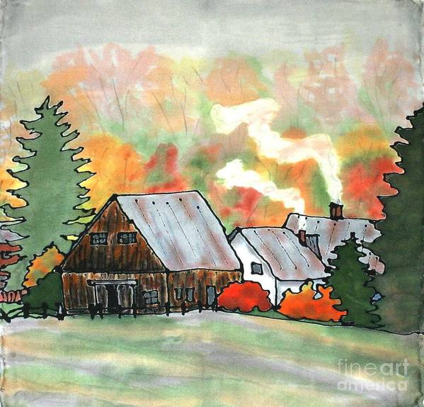Vermont Art Print featuring the painting Autumn Chill Silk Painting by Linda Marcille