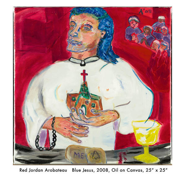 Jesus Art Print featuring the painting Blue Jesus by Red Jordan Arobateau